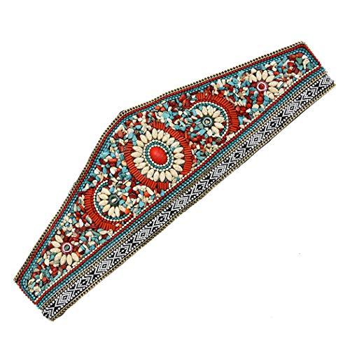NSLS Bohemian Retro Ethnic Style Turquoise Elastic Adjustable Belt Dance Waist Chain Clothing Accessories