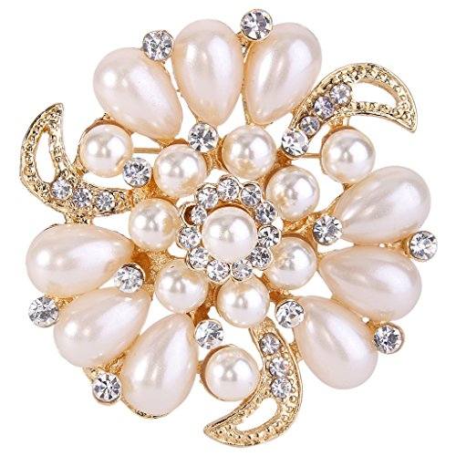 (EVER FAITH Flower Brooch Corsage Ivory Color Simulated Pearl Clear Austrian Crystal)