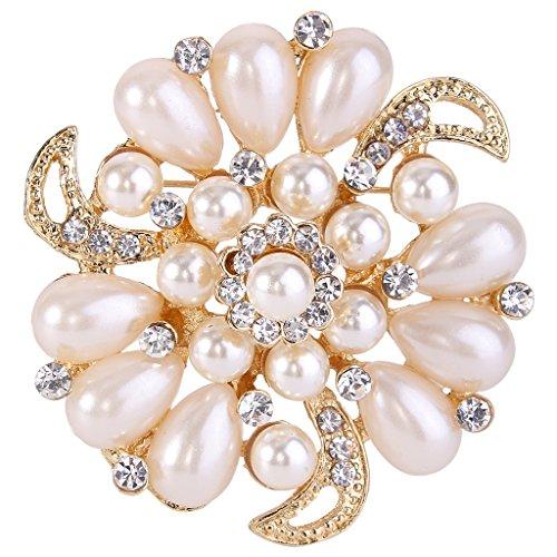 Crystal Simulated Pearl Brooch (EVER FAITH Flower Brooch Corsage Ivory Color Simulated Pearl Clear Austrian Crystal)
