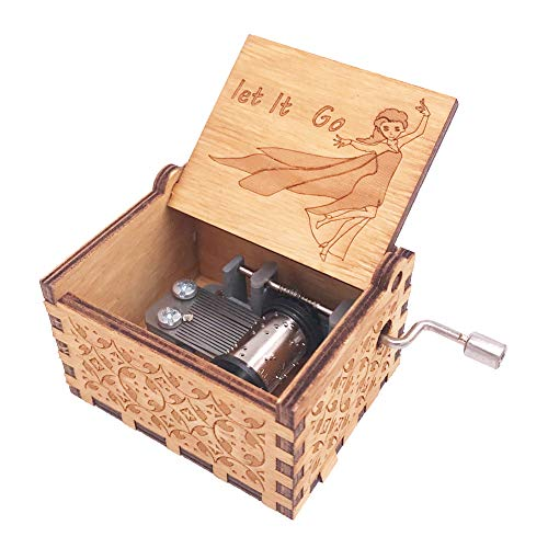 - Frozen Music Box 18 Note Hand Crank Musical Box Carved Wooden,Play Let it Go,Brown