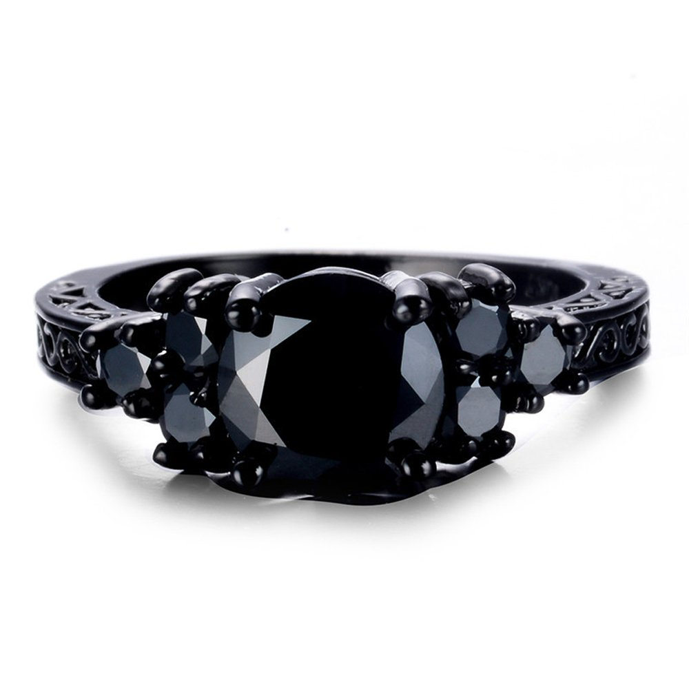 F/&F Ring Classic Black Round Zircon Black Gold Filled Ring Vintage Jewelry for Women Wedding Engagement Rings