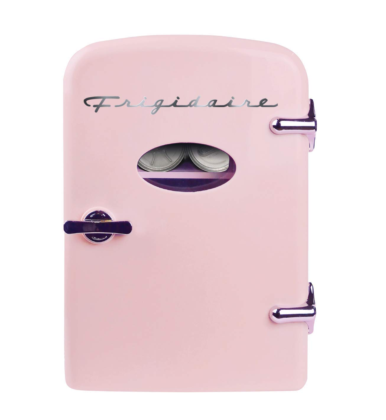 Frigidaire Retro Mini Compact Beverage Refrigerator, Great for keeping office lunch cool! (Pink, 6 Can) (Renewed)