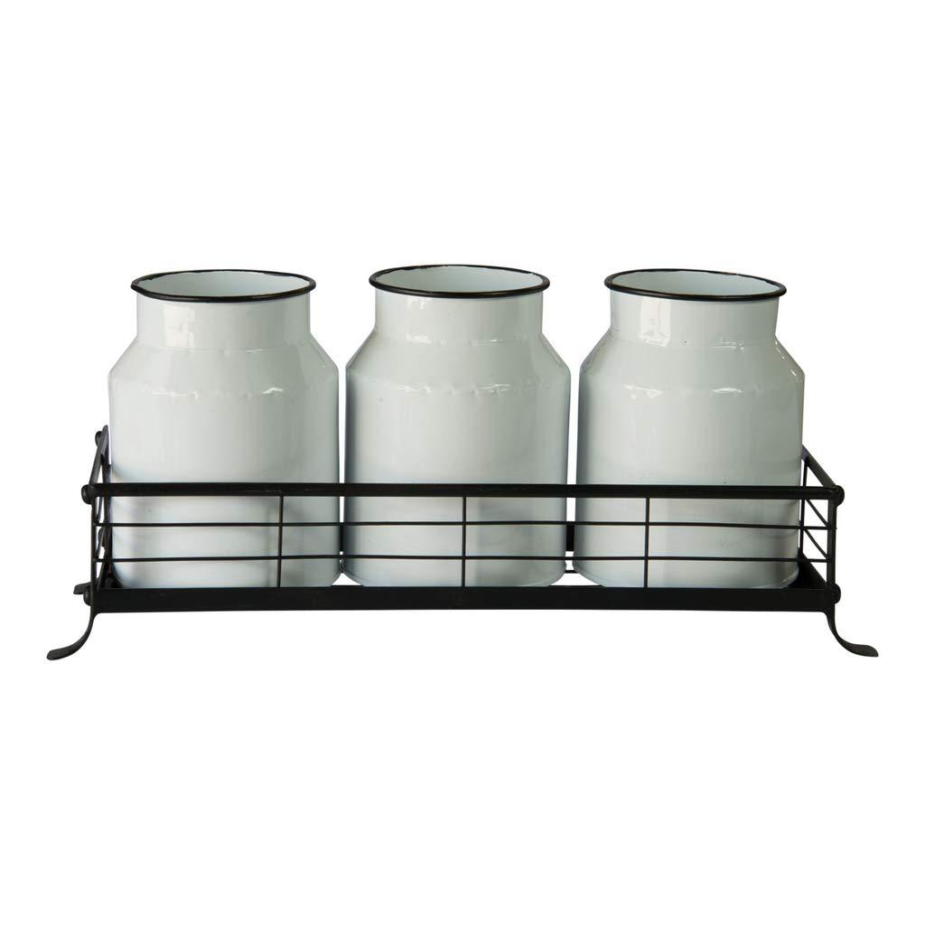 White Metal Enamel Jars with Black Metal Tray Utensil Holder, Flower Vase Set of Three Jars