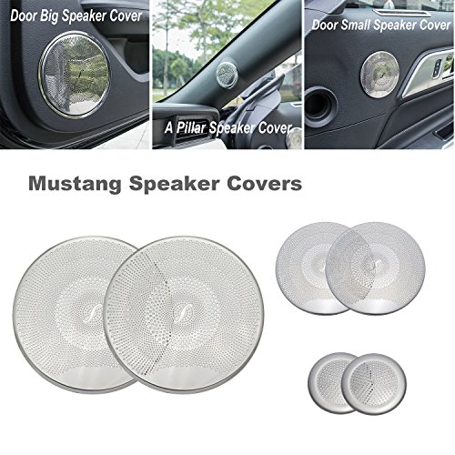 URBEST 3 Pairs Car Inner Door Aluminum Speaker Covers Frame for Ford Mustang 2015 2016 2017 2018(Silver) -