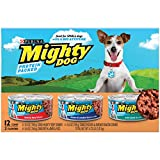 Purina Mighty Dog Ground Wet Dog Food Variety Pack – (2 Packs of 12) 5.5 oz. Cans