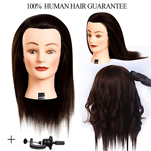 xnicx 002 14-16 inch Female Cosmetology Mannequin Head 100% Training Human Hair Training head Mannequin - Popular Facial Most Hair Styles