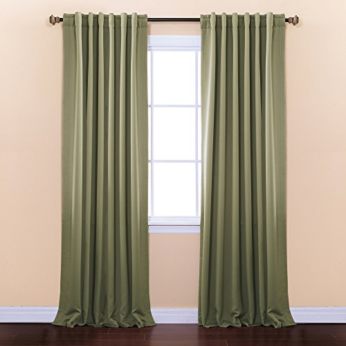 Best Home Fashion Thermal Insulated Blackout Curtains - Back Tab/ Rod Pocket - Olive - 52