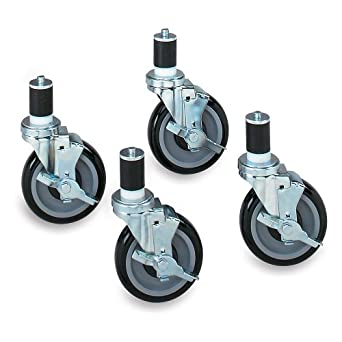 John Boos 5u0026quot; Polyolefin Casters For Type 304 Stainless Steel  Worktables   For 48u0026quot;