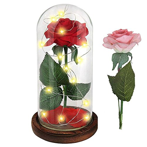 """Beauty and the Beast"" Red Rose / Pink Rose Enchanted Red Silk Rose and LED Light with Fallen Petals in Glass Dome on a Wooden Base Gift for Valentine's Day Wedding Anniversary Birthday"