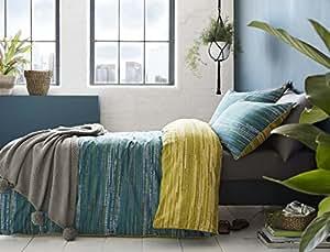 Pixel spot-style Stripes Teal corriente 100% algodón Super King Size (Plain White–Sábana bajera 180x 200cm + 25) blanco fundas de almohada 6piezas Juego de cama