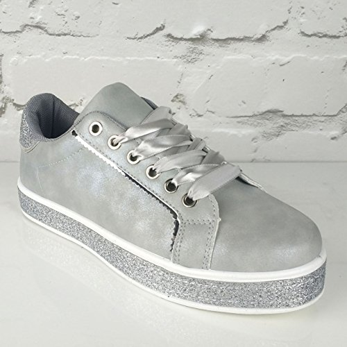 Pinkpoca Womens Ribbon Lace up Glitter Sparkly Trainers Sneakers Grey/Silver Glitter 99DI5heZd