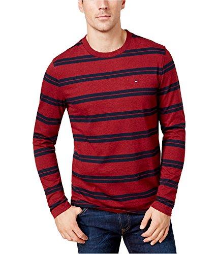 Tommy Hilfiger Men's Striped Long-Sleeve T-Shirt (Tomato, XXL)