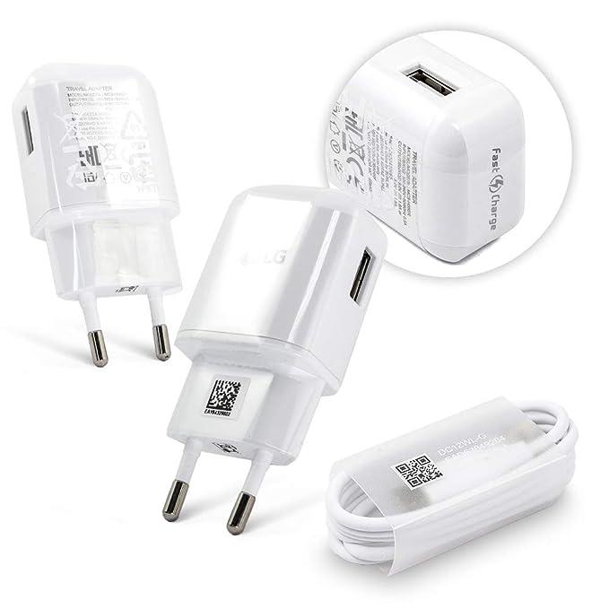 TPC - Cargador Original LG MCS-H05ED Carga Rapida 2.0 USB-C para LG G2, G4, Flex 2, V10, Bulk + Regalo