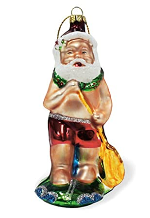 Amazoncom Hawaiian Glass Christmas Ornament Stand Up Paddle