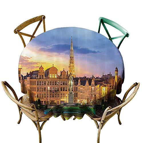 Jbgzzm Dustproof Tablecloth European Cityscape Decor Collection Brussels Citscape with Monument Belgium Avenue Medieval in Gothic Style Print Deco Picnic D55 Multi -