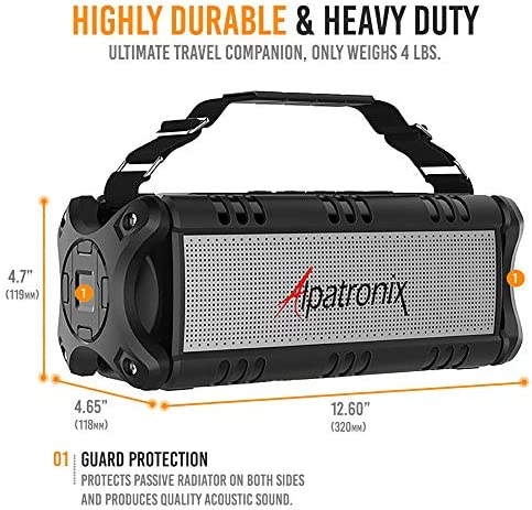 [Upgraded] Waterproof Bluetooth Speaker 60W (80W Max), Portable, Wireless, 8000mAh Power Bank, Shockproof, TWS, DSP, Stereo, Subwoofer, TF Card, Equalizer, Alpatronix AX500, Indoor & Outdoor – Black 51F 2BZ1XwBhL