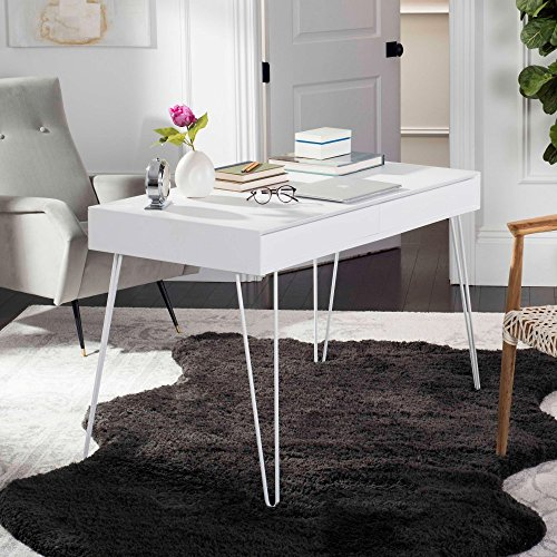 Safavieh Home Collection Cade Mid Century Retro Two Drawer Desk, White