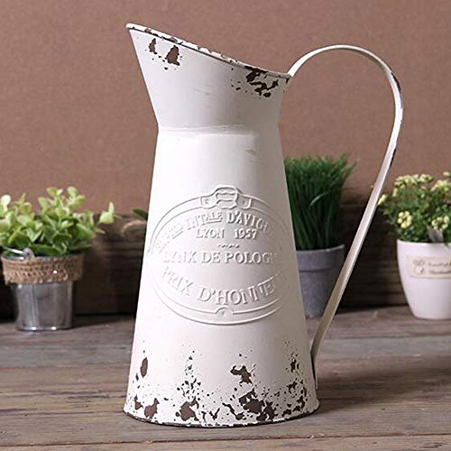 SHINGONE Shabby Chic Decor Large Metal Jug Flower Vase Rustic Pitcher Vase Primitive Jug French Vase for Home Decoration