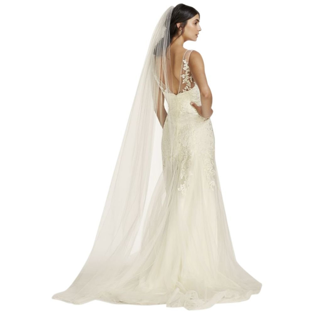 Chapel Length Veil with Pencil Edge Style 669, Ivory by David's Bridal