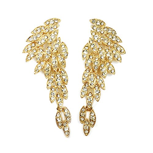LARGE Angel Wings Eagle Wings Rhinestone Studded Statement Gold Black Dangling Earrings Wedding Bridal Crystal Chandelier Long Drop Earrings for Women (Gold Without Card/Envelope)