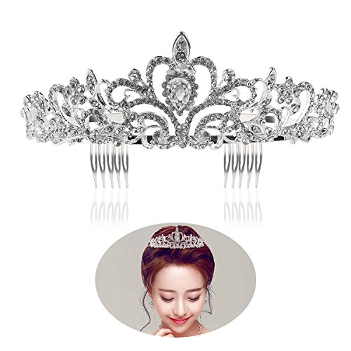 Tinksky Princess Tiara with Comb Shining Crystal Rhinestones Wedding Bridal Tiara Headband (Silver)
