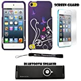 Purple Butterfly Floral 2 piece Cover Shield Protector Case For Apple iPod Touch 5 ( 5th Generation) 32GB, 64GB + Anti Glare Screen Protector Guard + Supertooth Disco Bluetooth Speaker with AUX Cable + an eBigValue ™ Determination Hand Strap