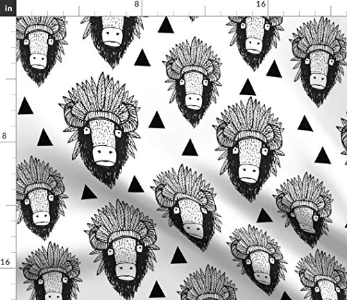 Southwest Buffalo Fabric - Boho Animal Southwest Buffalo Triangle Southwest Bison Native American Tribal Print on Fabric by The Yard - Sport Lycra for Swimwear Performance Leggings Apparel Fashion