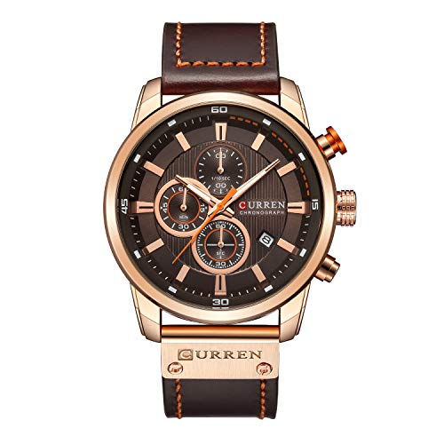Mens Watches Military Chronograph Large Face Designer Dress Waterproof Sport Wrist Watch Business Analogue Leather Watches for Men - Brown