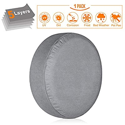 "KAKIT Spare Tire Cover for RV, 5 Layers Durable Waterproof Motorhome Spare Wheel Tire Covers for Trailers Jeep Truck Car Camper Fit up to 29"" Tire Diameters"