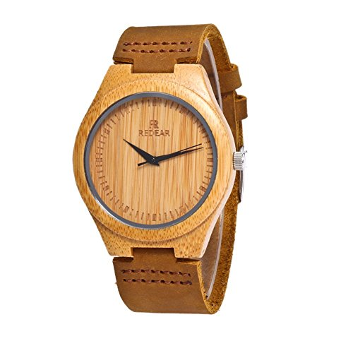 Bamboo Wooden Watch with Genuine Leather Strap Japanese Quartz Movement (Women, Brown 2) (Movement Leather Quartz)