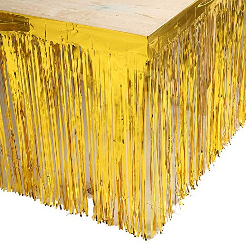 Set of 2 Gold 29x108-Inch Metallic Foil Fringe Table Skirt Banner ()