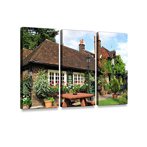 Village PubPrint On Canvas Wall Artwork Modern Photography Home Decor Unique Pattern Stretched and Framed 3 Piece