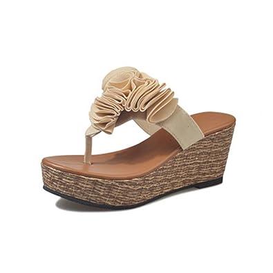 00cdeffd6 GIY Women s Bohemian Wedges Platform Flip Flop Sandals Open Toe Lace Flower  Thick Heel Summer Beach