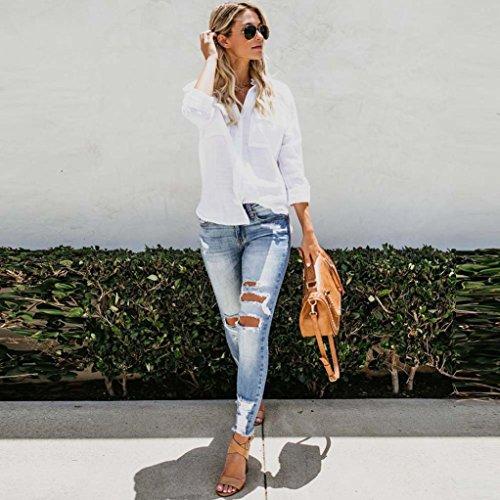 Blouse Solide Boutons Shirt Lin Blanc Chemisier Automne Lache Chemisier Chic Tops Femme Vest Loisirs Chemises T Dcontract Coton V Col Hauts Casual Longues Manches qUx1wz