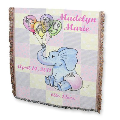 """GiftsForYouNow Personalized Baby Girl Elephant Blanket, 54"""" x 38"""", Cotton/Poly (Baby Throw Personalized)"""