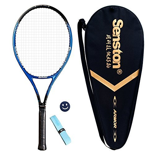 Senston Tennis Racket Professional Tennis Racquet,Good Control Grip,Strung with Cover,Tennis Overgrip, Vibration Damper(Blue)