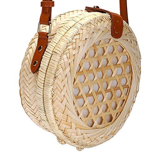 Summer Women Beige Beach Bags iShine Bags Round Bag Weave iShine Shoulder Bag Crossbody Handmade Bamboo fvwzx6