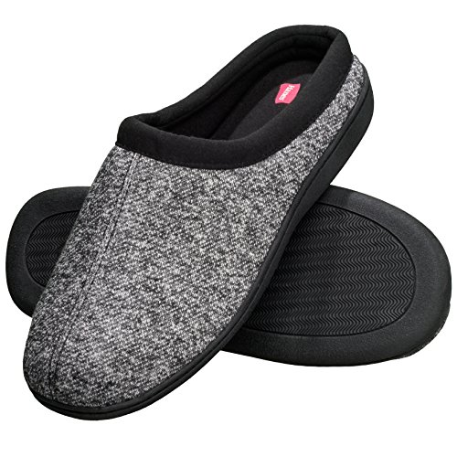 Hanes Men's Memory Foam Indoor Outdoor Clog Slipper Shoe with Fresh IQ (Mens Large (9.5-10.5), Black Clog)