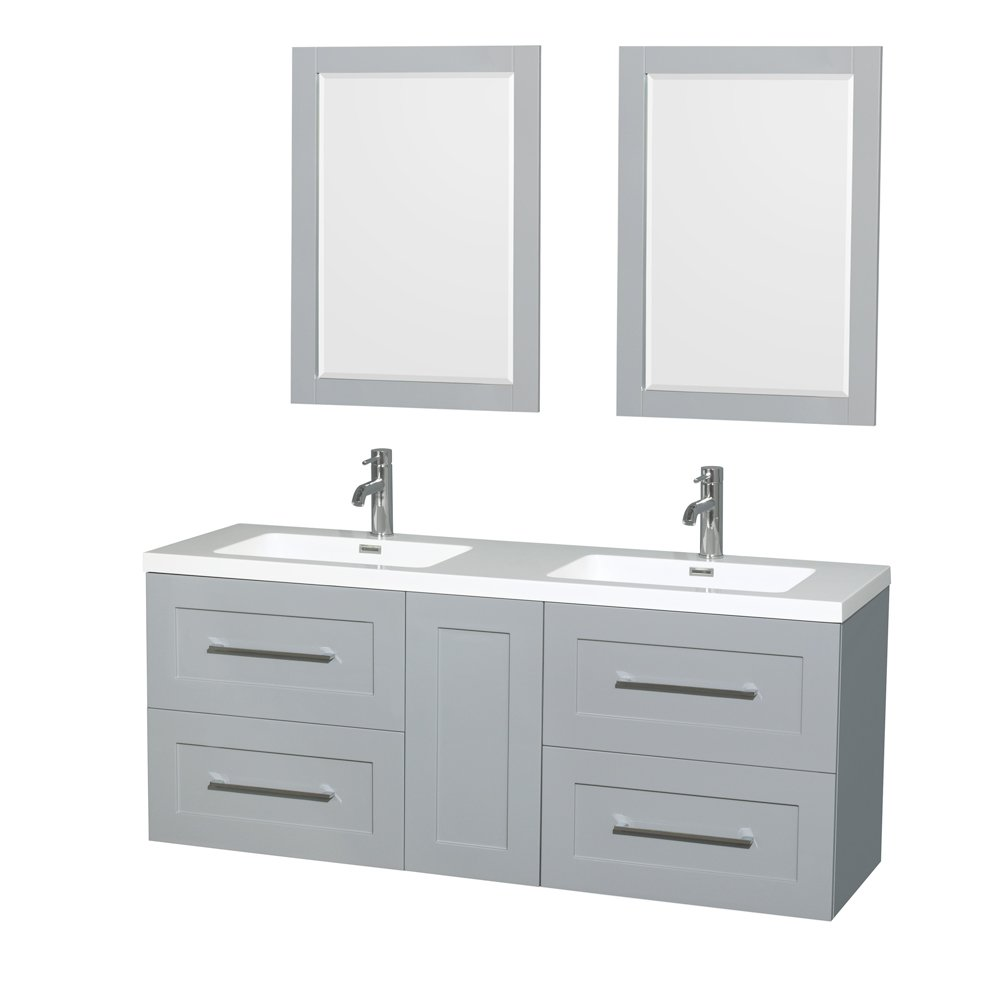 Wyndham Collection Olivia 60 inch Double Bathroom Vanity in Dove Gray, Acrylic Resin Countertop, Integrated Sinks, and 24 inch Mirrors