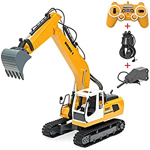 Best Choice Products 1/16 Scale 17 Channel RC Digger Excavator Construction Truck w/ Rechargeable Battery, Shovel, Bonus Drill, & Grasp - Yellow