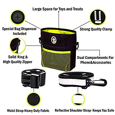PERRAMA Dog Treat Bag, Training Pouch for Small and Large Dogs with Clicker and Collapsible Food Bowl BPA Free – Pet Treats Tote Bag with Waist and Shoulder Reflective Straps and Belt Clip