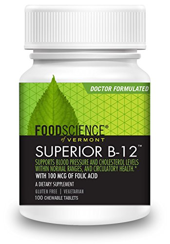 FoodScience of Vermont Superior B-12, 1000 mcg Cherry Flavored Chewable Tablets, 100 CT