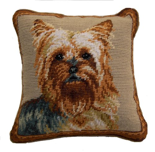 Yorkshire Terrier Yorkie Portrait 100% Wool Needlepoint Dog Pillow 10