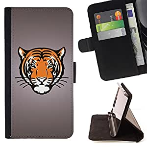 DEVIL CASE - FOR Apple Iphone 5 / 5S - Tiger Portrait Drawing Face Animal Big Cat Wild - Style PU Leather Case Wallet Flip Stand Flap Closure Cover