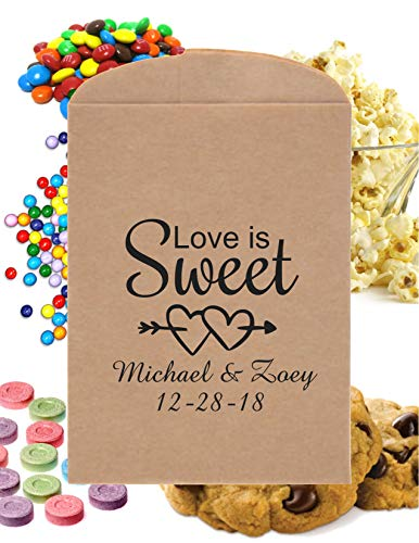 Wedding Favor Bags | Rustic Love Is Sweet Heart Candy Bags | Bridal Shower Cookie Bags | Candy Buffet Printed Paper Bags | Donut Bags | 24 Pack