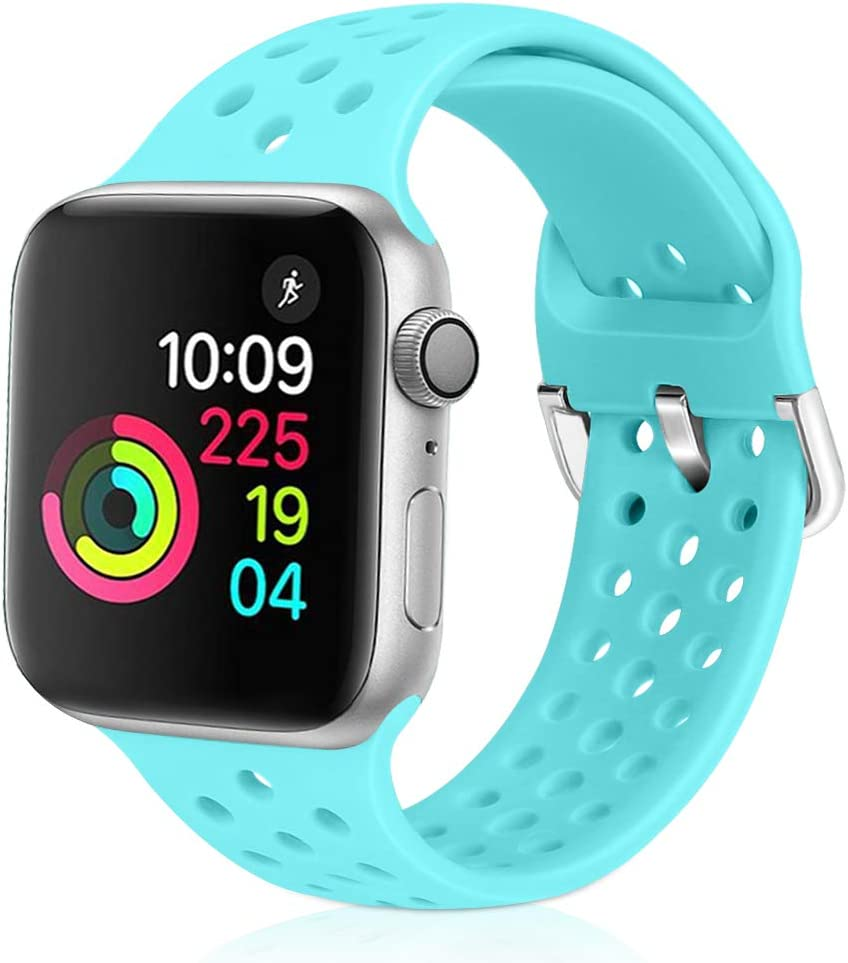 Relting Compatible with Apple Watch Band 42mm 44mm, Soft Silicone Sport Breathable Replacement Strap Compatible for iWatch Series 6, 5, 4, 3, 2, 1 for Women and Men (sky blue, 42mm/44mm)