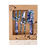 FLORA GUARD 3 Piece Aluminum Garden Tool Set with Purple Print - Trowel, Cultivator, Pruning Shear, Gift Set for Gardening Needs