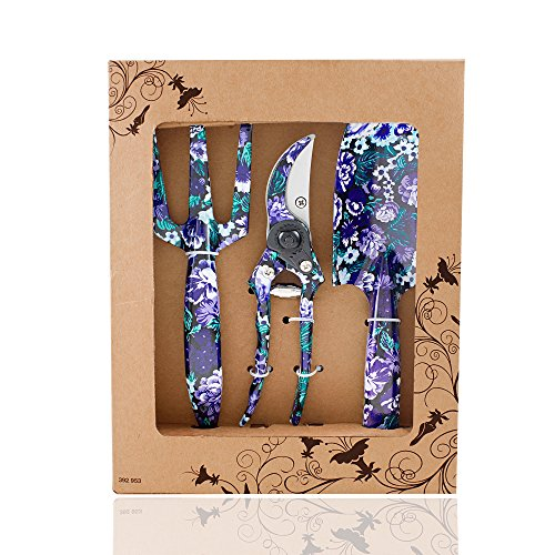 Shears Gift Set (FLORA GUARD 3 Piece Aluminum Garden Tool Set with Purple Print - Trowel, Cultivator, Pruning Shear, Gift Set for Gardening Needs)