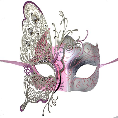 Coxeer Womens Masquerade Mask Butterfly Shape Laser Cut Metal Mardi Gras Mask Silver