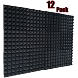 "12 Pack- Charcoal Acoustic Panels Studio Soundproofing Foam Wedges Tiles Fireproof 2"" X 12"" X 12"" (12 PCS, Black)"
